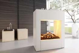 LINEA 80 EL - Elektrokamin mit OptiMyst Feuer: moderne Wohnzimmer von Kamin-Design GmbH & Co KG