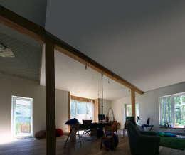 Дом в уровнях: Гостиная в . Автор – Snegiri Architects