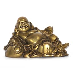 Antique Brass Laughing Buddha Statue / Best Feng Shui Gifts:  Artwork by M4design