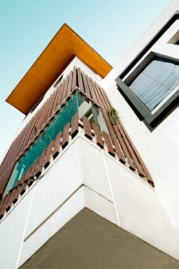 Staircase block: Exterior: modern Houses by Studio An-V-Thot Architects Pvt. Ltd.