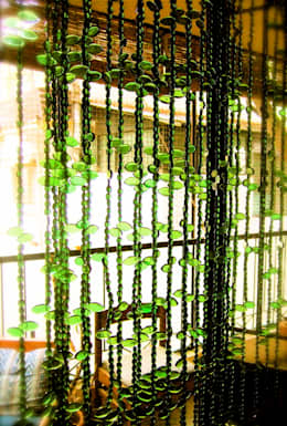 Topaz Leaf Bead Curtain:  Artwork by Memories of a Butterfly: bead curtains/screens/installations