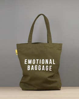 Emotional baggage canvas tote: eclectic Dressing room by An Artful Life
