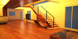 living room:   by Pankaj Mhatre Architects.