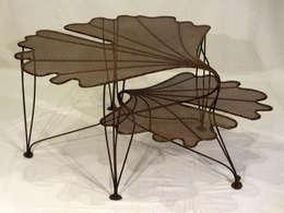 """Table Basse """"Feuillages de Ginkgo"""": Maison de style  par Artiste Sculpteur, Designer et Artisan d'Art"""