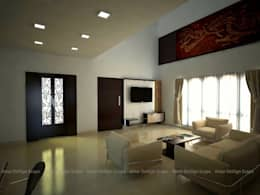 Wall Panel for TV: asian Living room by Amar DeXign Scape