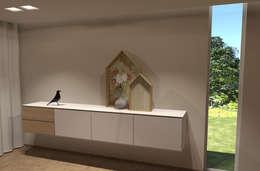 Hangdressoir 'Rubix': minimalistische Gang, hal & trappenhuis door AD MORE design