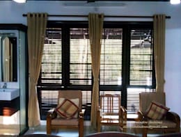 Wooden Blinds with Linen Fabric Curtains:  Windows & doors  by Clinque window blind systems