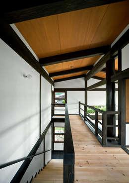 2階ホール: 石井智子/美建設計事務所が手掛けた玄関・廊下・階段です。