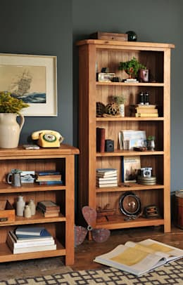 Lyon Oak Large Bookcase 5 Shelves: country Living room by The Cotswold Company