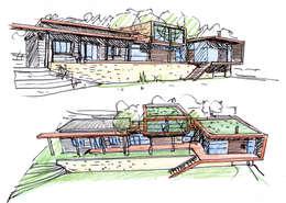 Les perspectives rendues avec l'esquisse: Maisons de style de style Moderne par Atelier d'Architecture Marc Lafagne,  architecte dplg