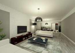 Niyazi Özçakar İç Mimarlık – METROKENT BURSA 3+1: modern tarz Oturma Odası