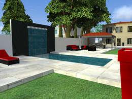 Création d'une piscine en 2 espaces distincts: Piscines  de style  par AZ Createur