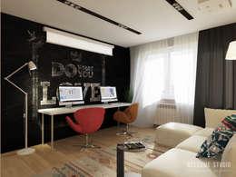 Однокомнатная квартира «Wood&Stone»: Гостиная в . Автор – Мастерская дизайна Welcome Studio
