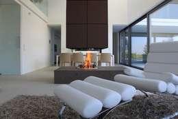 lederkamin: minimalistische Wohnzimmer von ofenmanufaktur. meisterbetrieb