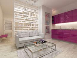 Однокомнатный минимализм: визуализация, частичный дизайн : Гостиная в . Автор – OK Interior Design