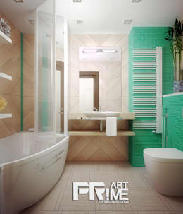 Проект квартиры для молодоженов: Ванные комнаты в . Автор – 'PRimeART'