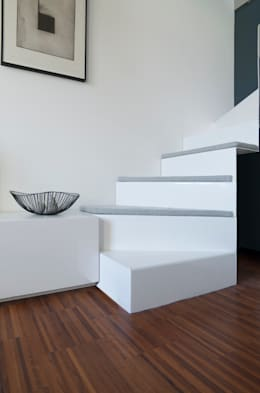 Dettaglio della scala in soggiorno: Soggiorno in stile in stile Minimalista di PLUS ULTRA studio