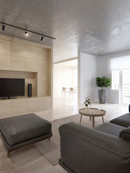 minimalistic Living room by INT2architecture