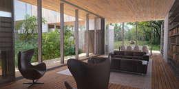 Vue du salon: Maisons de style de style Rustique par Wen Qian ZHU Architecture
