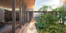 Vue de terrasse: Maisons de style de style Rustique par Wen Qian ZHU Architecture