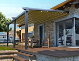 Enda Yapı – Raylı Tente Sistemi: modern tarz Balkon, Veranda & Teras