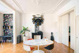 Stadsvilla Den Haag: moderne Woonkamer door IJzersterk interieurontwerp