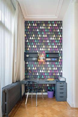 Stadsvilla Den Haag: eclectische Studeerkamer/kantoor door IJzersterk interieurontwerp