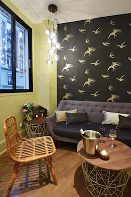 Papier peint SANDERSON, mobilier vintage et FERM LIVING: Jardin d'hiver de style  par JC Peyrieux Design