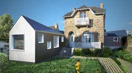 Extensions d'une maison de vacances à Trégastel: Maisons de style de style Moderne par PLAYGROUND ATELIER D'ARCHITECTURES