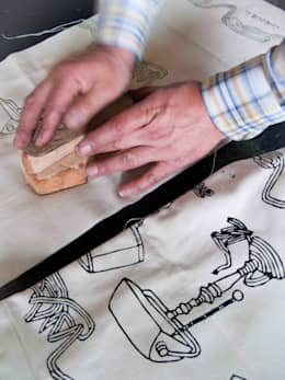 Chouchette – Chouchette Work in Progress - Wood block printing:  tarz Ev İçi