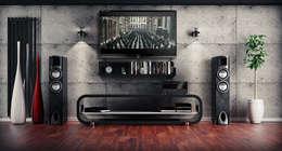 TV Wandverkleidung in Betonoptik: moderner Multimedia-Raum von Loft Design System Deutschland