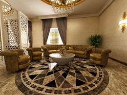 m. rezan özge özdemir – Villa iç tasarımı-karşılama odası: eklektik tarz tarz Oturma Odası