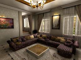 m. rezan özge özdemir – Villa iç tasarımı-oturma odası: eklektik tarz tarz Oturma Odası