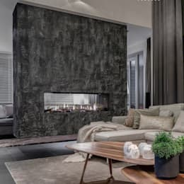 Scrusted fireplace:  Muren & vloeren door Dofine wall | floor creations