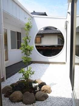 天にそそりあがるR屋根の家(川越増形の家): 大島功市建築研究所 一級建築士事務所が手掛けた庭です。