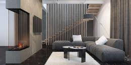 гостиная и лестница: Гостиная в . Автор – INROOM