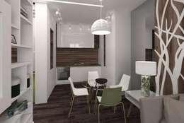 """Квартира в ЖК """"Микрогород в лесу"""": Кухня в . Автор – Архитектурное бюро 'Золотые головы'"""