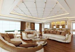 Nuevo Tasarım – Klasik villa projesi: klasik tarz tarz Oturma Odası