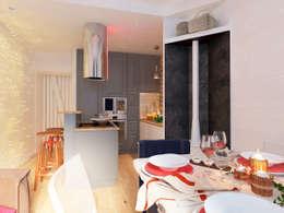 Проект трехкомнатной компактной квартиры: Гостиная в . Автор – Katerina Butenko