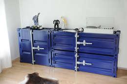 Pandora Medium & Custom cobalt blauw: industriële Studeerkamer/kantoor door Studio Sander Mulder
