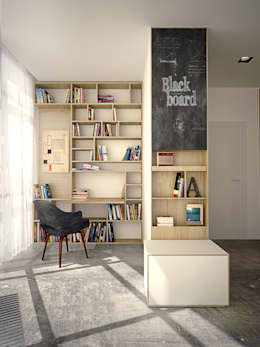 Apartament PN: styl , w kategorii Domowe biuro i gabinet zaprojektowany przez PB/STUDIO