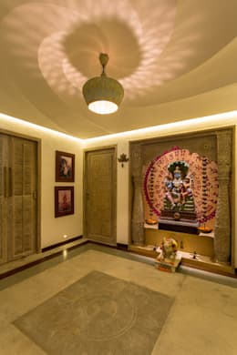 pooja room designs for home. Corridor  hallway by The Orange Lane 7 sacred Pooja room designs for your home
