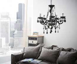 Kronleuchter Karat 52x50 cm Schwarz Acrylglas 5-armig: klassische Wohnzimmer von DELIFE