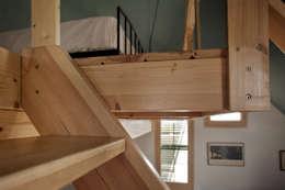Detalle escalera: Dormitorios de estilo rústico de mobla manufactured architecture scp