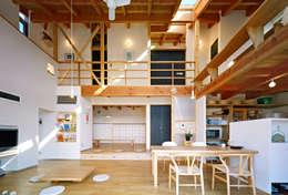 リビングの吹き抜け空間: 久保田英之建築研究所が手掛けたリビングです。