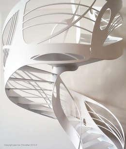 Escalier design hélicoïdal colimaçon: Couloir, entrée, escaliers de style de style eclectique par La Stylique