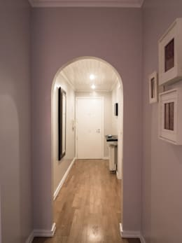 modern Corridor, hallway & stairs by MUDA Home Design
