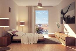 Ausblick Eilbek - Ein Passivhaus für höchste Ansprüche: moderne Schlafzimmer von dreidesign