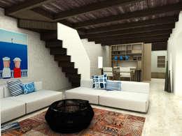 Atelye 70 Planners & Architects – Restorated House 2 Living Room: akdeniz tarzı tarz Oturma Odası