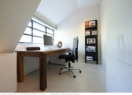 transformatie naar  een ingetogen luxe villa te Heiloo: moderne Studeerkamer/kantoor door Heleen Rombout interieurarchitect BNI